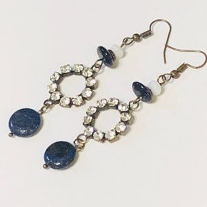 Navy & Rhinestones Antique Brass Hoop Earrings